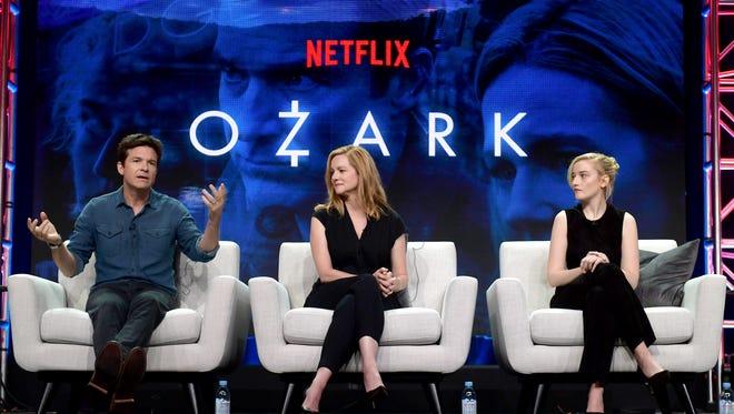 Jason Bateman, left, Laura Linney and Julia Garner talk about 'Ozark,' which returns for Season 2 on Aug. 31 during a Netflix summer TV press tour panel on Sunday.