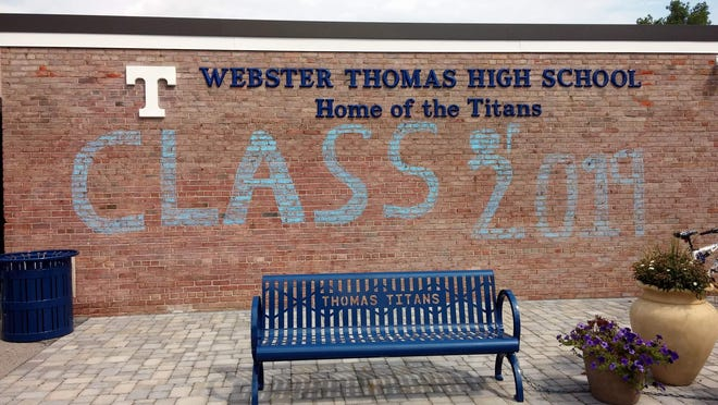 A huge chalk sign welcomed the Webster Thomas Class of 2019.