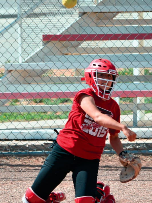 Matt Hollinshead — Current-Argus Loving senior catcher Samantha Franco throws the ball to third base Wednesday at practice. The Lady Falcons will face Dexter in today's home opener.