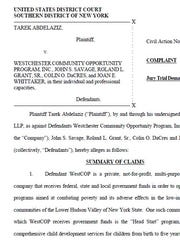 Tarek Abdelaziz, former CFO at Westchester Community Opportunity Program, filed a federal lawsuit Feb. 28 that alleges widespread financial irregularities at the non-profit agency.