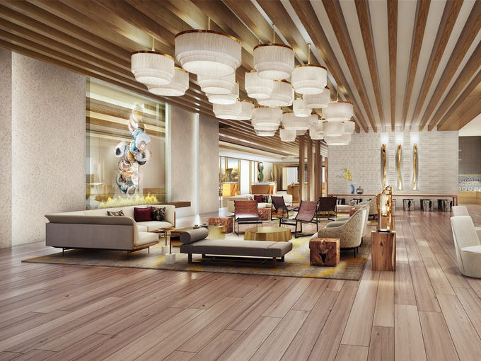 An artist's rendering of the hotel lounge at the new