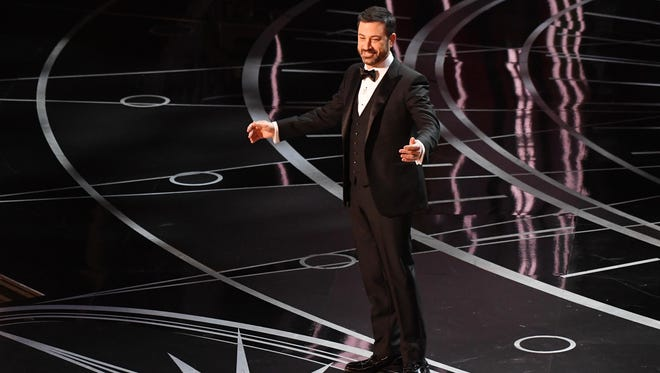 Jimmy Kimmel delivers his opening monologue during the 89th Academy Awards, Feb. 26, 2017.