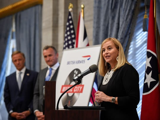 Former Mayor Megan Barry with Tennessee Gov. Bill Haslam and Simon Brooks, SVP North American British Airways announce a non-stop flight to London from Nashville at the Tennessee State Capital during a press conference in Nashville, Tenn., Tuesday, Aug. 8, 2017.