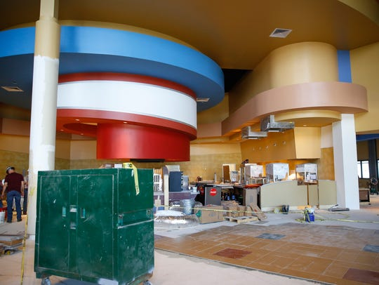 The lobby of the new CMX Movie Theater will serve those