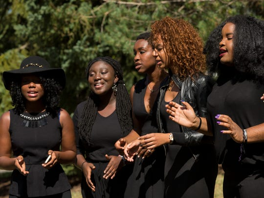 Baraka Ksw Wimbo perform Saturday at the conclusion of the ceremony marking the location of the original Africana Center at Cornell University. The building was destroyed by arson April 1 1970.