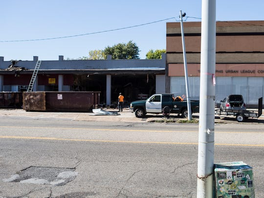 October 25, 2017 - Construction continues at the location where Black Lodge, the legendary Memphis video store, is preparing to reopen as a performance venue, movie theater, and video store in the Crosstown neighborhood.