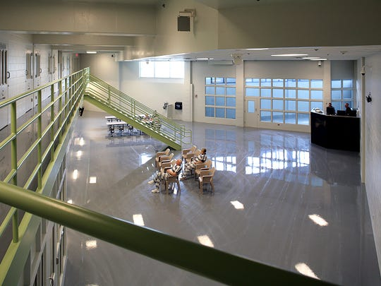 A photo of a day room from the Johnson County, Kansas jail designed by Treanor, which is working with county-hired firm nForm Architecture to design a new jail facility for Greene County.