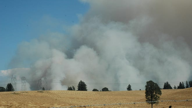 Field burning takes place at a grass seed field in the Lyons area on Thursday, Aug. 4, 2011.