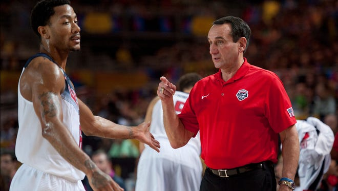 Unites States coach Mike Krzyzewski, says questions regarding Derrick Rose shouldn't be about his health now.