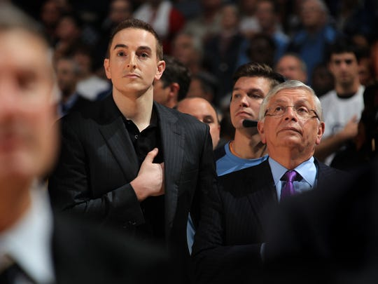 November 5, 2012 -   Memphis Grizzlies chairman Robert Pera, left,  stands with NBA commissioner David Stern during the playing of the National Anthem during Monday evening's home opener against the Utah Jazz.  (The Commercial Appeal/ Nikki Boertman)