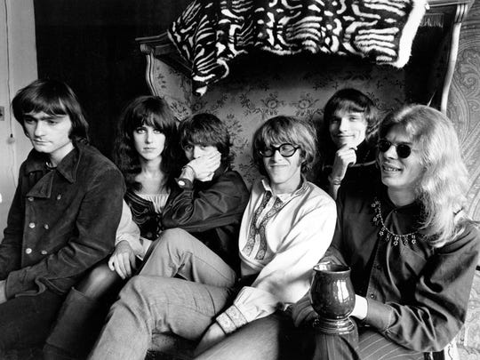 In this March 8, 1968 file photo, members of the rock group Jefferson Airplane pose in San Francisco. From left: Marty Balin, lead singer, songwriter and founder; Grace Slick, singer and songwriter; Spencer Dryden, drummer; Paul Kantner, electric guitar and vocalist; Jorma Kaukonen, lead guitarist, vocalist and songwriter; and Jack Casady, bass guitarist.