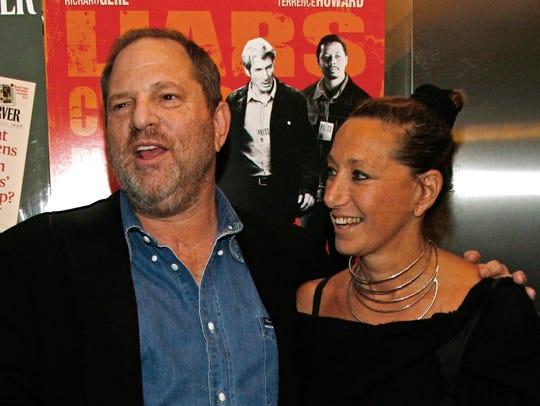 Harvey Weinstein and Donna Karan arrive at the premiere