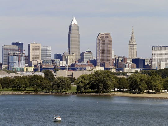 The Cleveland skyline from Edgewater Park in Cleveland.