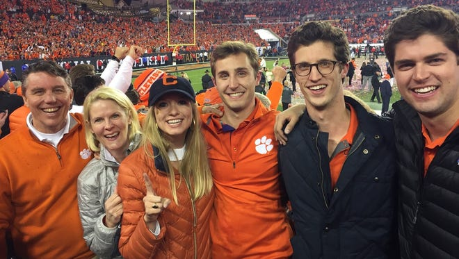 Lee Ayers at the national championship game in January 2017 with, from left, wife Diana, daughter-in-law Elizabeth, son Jake, son Garrett, son Cliff.