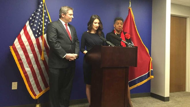 State Sen. Jeff Yarbro, country singer-songwriter Katie Armiger and state Rep. Brenda Gilmore appear at a news conference Monday to discuss legislation aimed at curbing sexual harassment in the music industry.