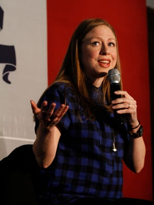 Chelsea Clinton addresses supporters at an event for Hillary Clinton at the Iowa Memorial Union on Saturday, Jan. 16, 2016.