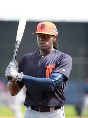 Mar 2, 2016; Tampa, FL, USA; Detroit Tigers outfielder Cameron Maybin (4) prior to the game against the New York Yankees at George M. Steinbrenner Field.