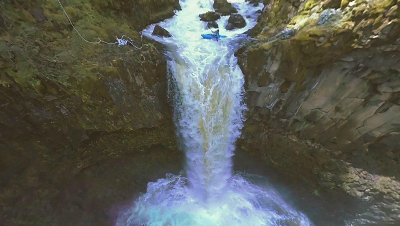 Insane kayak plunge off a 70-foot waterfall in VR