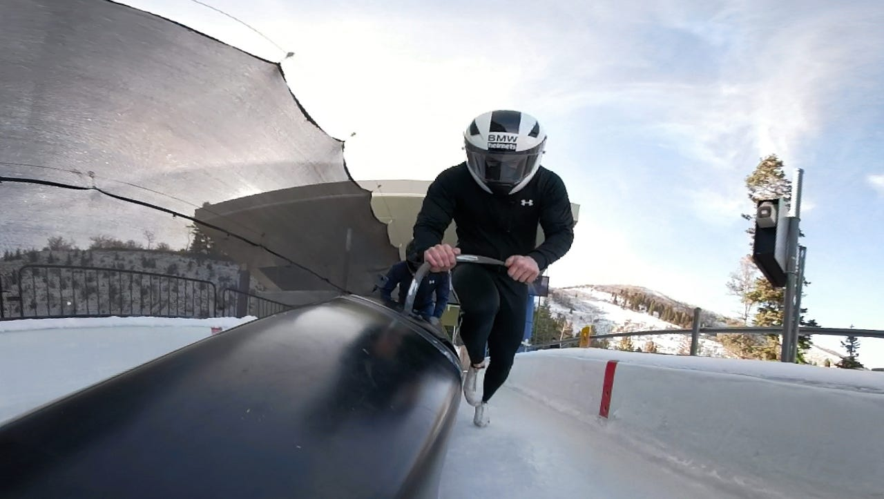 Jump into a bobsled with two fearless sliders in VR