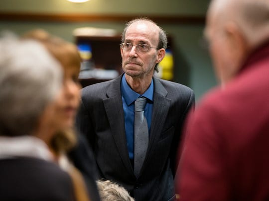 Daniel Edward Greis, 58, stands at the end of a day in his trial at Kenton County Circuit Court in Covington.