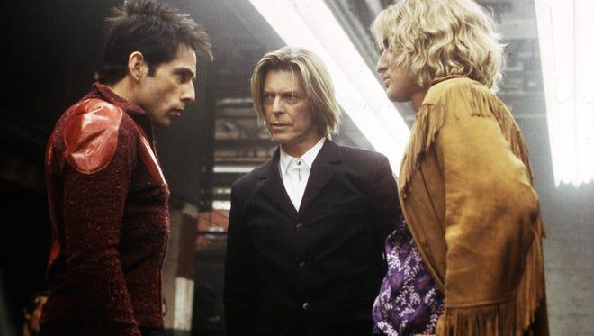 In 'Zoolander,' David Bowie moderates a walk-off between the male models Derek Zoolander (Ben Stiller) and Hansel (Owen Wilson).