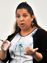 Nancy Lemus of New Castle addresses a medical marijuana