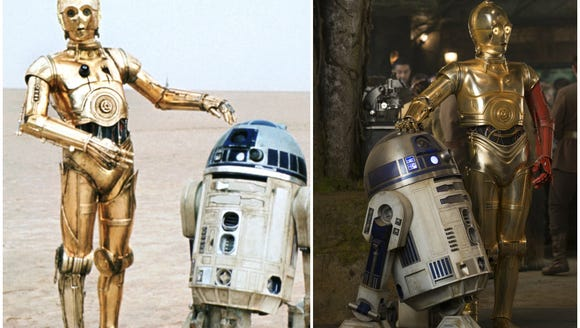 Left: C-3PO and R2D2 in an early 'Star Wars' film.