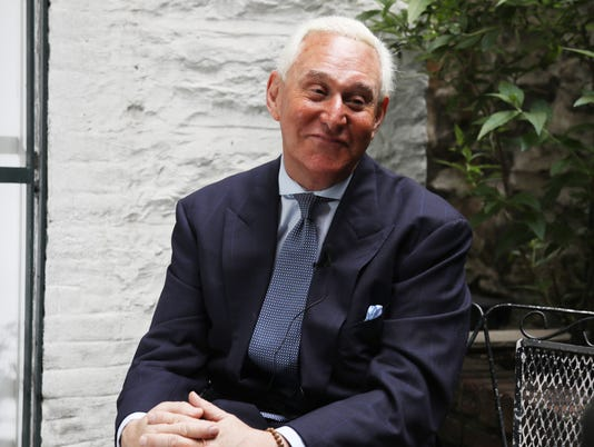 Roger Stone, the political trickster and 40 year friend of Donald Trump is interviewed by Mike Kelly at the Cafe Jazz.