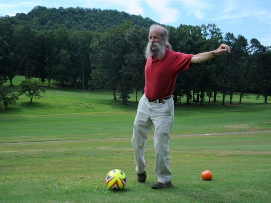 Black Mountain resident Don Talley played FootGolf for the first time on July 31. He enjoyed it so much he returned the following day to play another round.