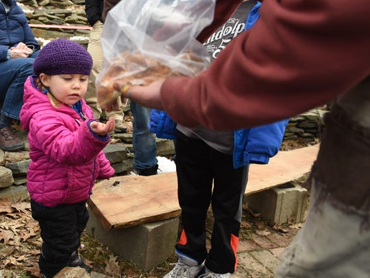 Olivia Garza, 2, of Beacon, collected a sample of maple syrup candy last year during New York State's annual Maple Sugar Weekend.