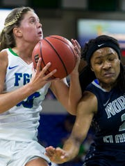 Florida Gulf Coast University junior, Haley Laughter, #20, handles the ball against the University of North Florida defense during the ASUN quarterfinal game on Friday, March 3, 2017 at Alico Arena in Estero.