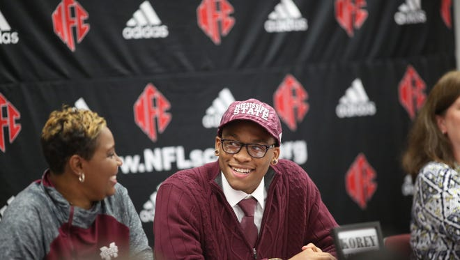 NFC's Korey Charles enjoys the day, having signed to play for Mississippi State on Wednesday, Feb. 3, 2016.