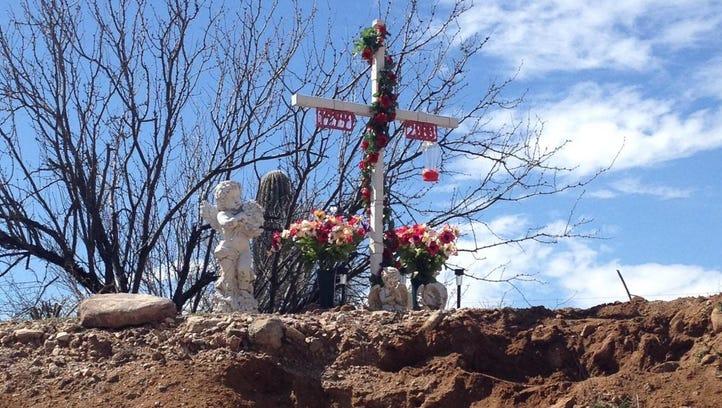 The roadside memorial site for Carmen Rios, who was