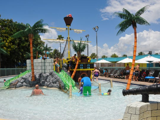The Pirate-themed pool at the 502-room International Palms Resort and Conference Center in Cocoa Beach, Brevard County's largest hotel, in terms of number of rooms.