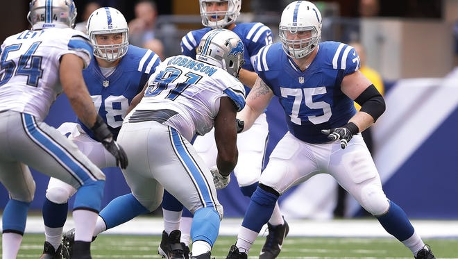 Indianapolis Colts offensive guard Jack Mewhort (75) and center Ryan Kelly (78) drop back to protect Andrew Luck in the first half of their game Sunday, September 11, 2016, afternoon at Lucas Oil Stadium.