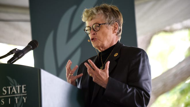 Michigan State University President Lou Anna K. Simon speaks during a groundbreaking event for the Business Pavilion at the Eli Broad College of Business on Friday, Sept. 8, 2017, on the MSU campus.