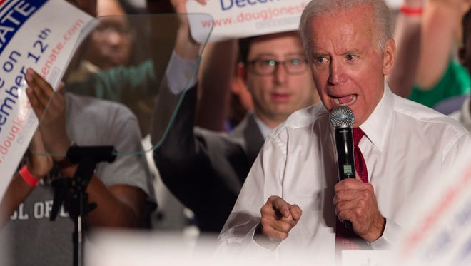 Joe Biden, former Vice President, speaks at a campaign rally for Democratic candidate for Senate Doug Jones on Tuesday, Oct. 3, 2017, in Birmingham, Ala.
