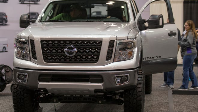 A Nissan Titan XD Pro 4X on display at the Indianapolis Autoshow, Indiana Convention Center, Indianapolis, Tuesday, Dec. 26, 2017. The show, featuring 2018 models, runs through New Year's Day and includes cars from the U.S., Japan, Korea, Italy, and Germany.
