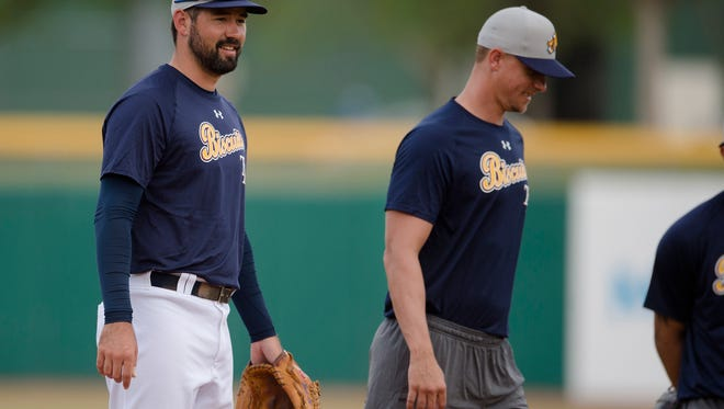 Biscuits pitcher Zach Lee looks on during the Biscuits opening practice on Tuesday, April 3, 2018, in Montgomery, Ala.