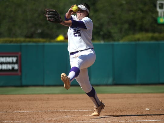 LSU's Allie Walljasper gives up just one hit in the Tigers 1-0 win over FSU, tying the three game Super Regional series at JoAnne Graf Field on Saturday.