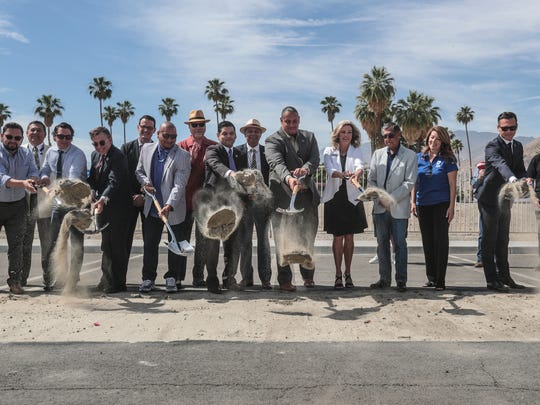 Jeff Grubbe, chairman of the Agua Client Band of Cahuilla Indians, 10th from the left, leads the ground breaking for the Agua Caliente Cultural Museum in Palm Springs on Friday, May 11, 2018. Joining him are members of the tribal council and local politicians.