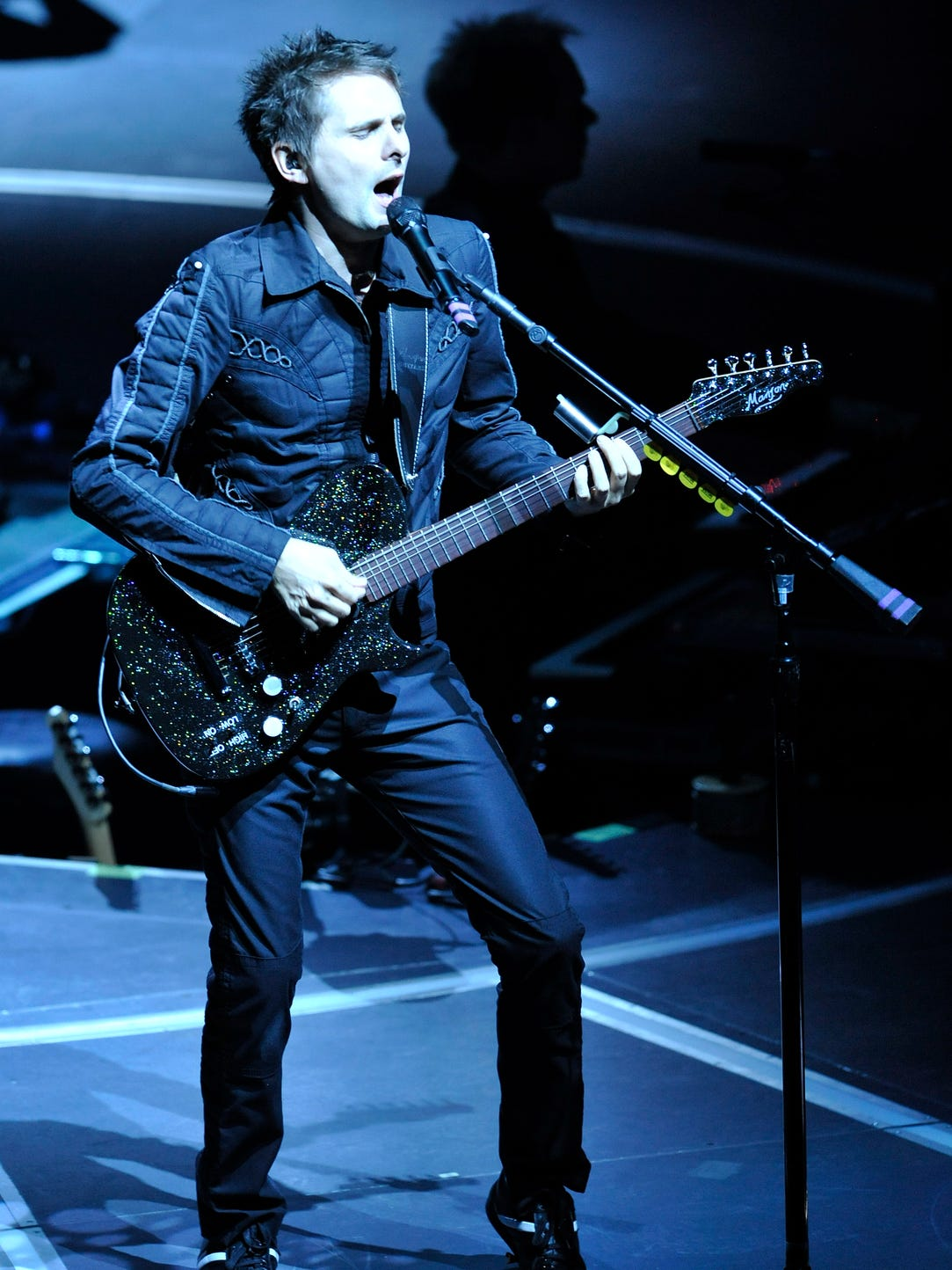 Matt Bellamy, lead singer and guitarist of Muse performs