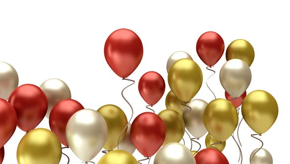 color balloons, birthdays