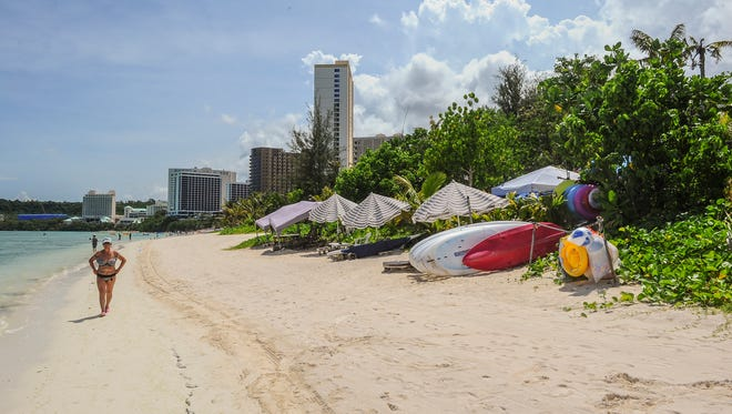 The beach near the area where a storm drain was proposed to alleviate flooding in Tumon is shown here on July 22. The Guam Economic Development Authority still is weighing options to deal with flooding in Guam's main tourist district.
