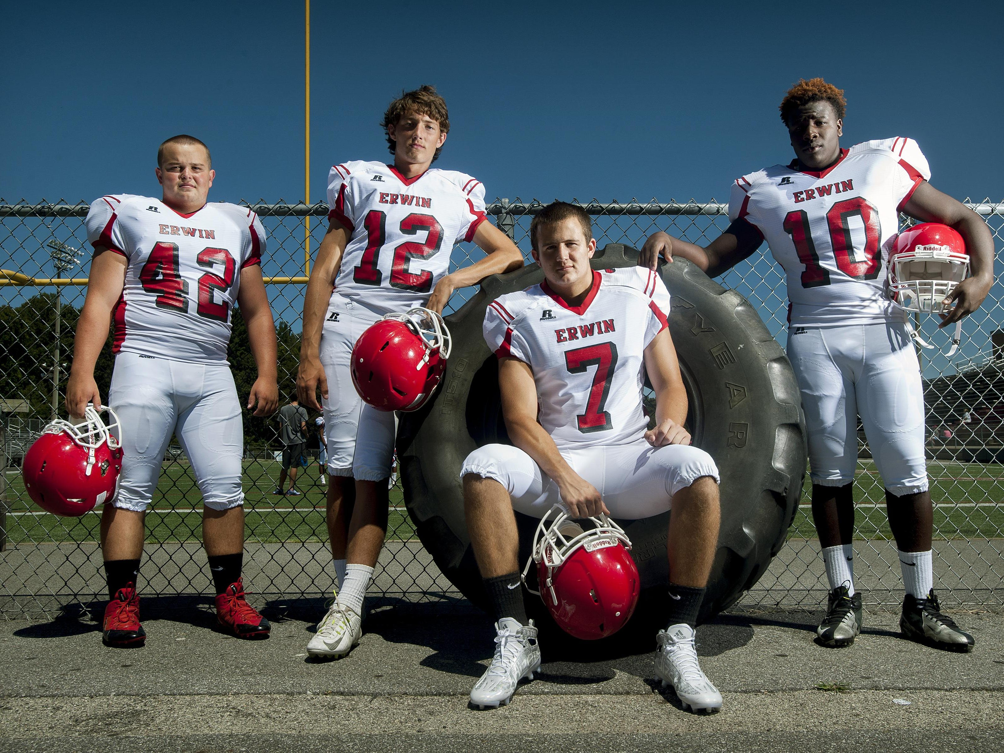 Erwin has four returning All-Mountain Athletic Conference football players, from left to right, Trevor Franklin, Damien Ferguson, Chase Austin and Rayonte Mills.
