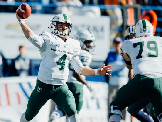 Portland State quarterback Josh Kraght throws a pass against Montana State during the first half of an NCAA college football game at Bobcat Stadium, Saturday, Oct. 7, 2017, in Bozeman, Mont.(Adrian Sanchez-Gonzalez/Montana State University via AP)