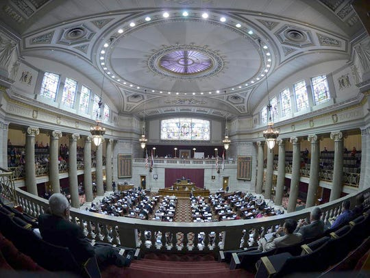 The interior of the Missouri State Capitol building.