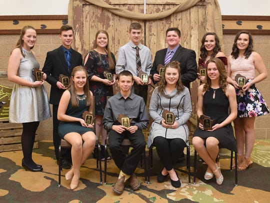 Honored as Young Distinguished Jr Members are front row (from left) Eliza Endres, Colton Brandel, Ainsley Noble, and Sam Pitterle. Back row (from left) Nicole Broege, Matthew Gunst, Hannah Hockerman, Drew Noble, Coltin Coffeen, McKenzie Calvert, and Madison Calvert.