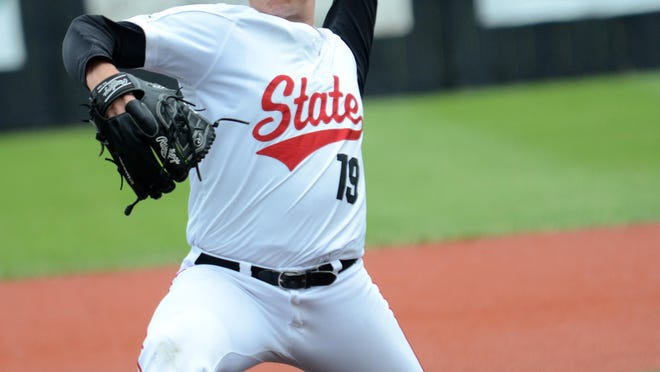 St. Cloud State sophomore Cal Giese delivers a pitch Friday against Missouri Western State on Friday in the NCAA Division II Central Region baseball tournament in Emporia, Kansas. Giese threw six shutout innings and the Huskies won 12-0.