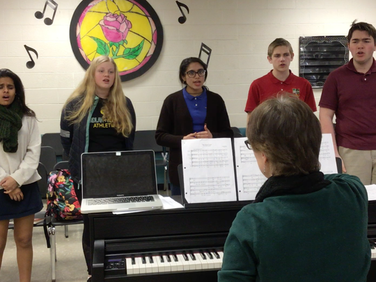 The Wardlaw + Hartridge School vocal quintet rehearses.